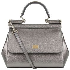 Dolce & Gabbana Mini Sicily Metallic Top Handle Bag ($1,685) ❤ liked on Polyvore featuring bags, handbags, mini purse, genuine leather handbags, top handle bag, real leather handbags and leather handbags