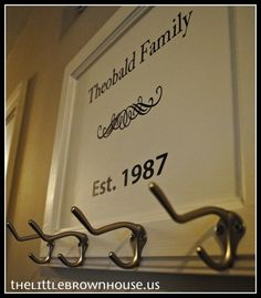 Cabinet door hooks and script