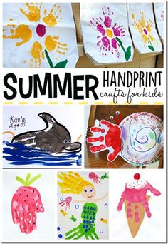 summer hand art - So many super cute summer crafts for kids to make! Frugal Summer Activities, Summer Kids Activities #summer