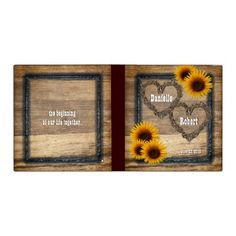 Country Western Rustic Sunflowers Wedding Album Vinyl Binders