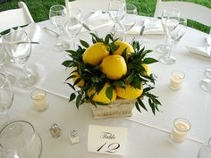 lemon centerpiece for a dinner party
