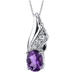 Graceful Angel 100 carats Oval Shape Sterling Silver Amethyst Pendant >>> Be sure to check out this awesome product.
