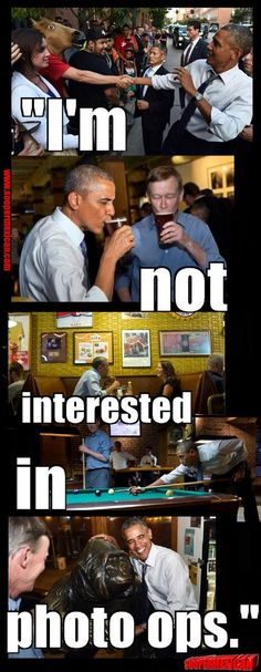 """""""I'm not interested in photo ops..."""" - @BarackObama  Awesome shots of him boozin' and shmoozin"""" it up.  What a fraud!!"""