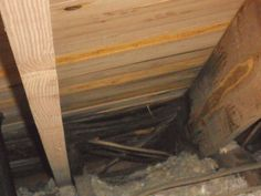Attic view of roof depressions -roof is leaking