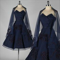 vintage 1950s dress . blue mesh cocktail by millstreetvintage, $235.00