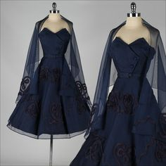 vintage 1950s dress . blue mesh cocktail by millstreetvintage, $235.00