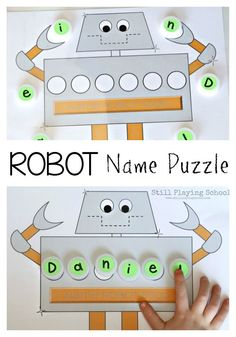 Robot Name Puzzle - Kids learn to read, spell, and write their name with this free robot name puzzle mat! Preschool Names, Preschool Learning, Literacy Activities, Activities For Kids, Preschool Letters, Teaching, Preschool Ideas, Name Puzzle, Puzzle Mat