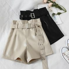 9117001ce6d14 Fashion High Waist PU Leather Shorts For Women Black Sashes Wide Leg Shorts  2018 Autumn Winter