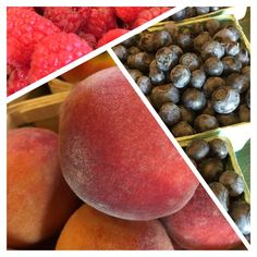Ahh…. the sweet taste of summer. It;s Fresh Friday. Look what Farmer Joe is bringing us today. Quick - grab a napkin to sop up all the juice!!#peaches #blueberries #raspberries #smithsacres #freshfriday #freshisbest Farmer, Plum, Blueberry, Raspberry, Juice, Fresh, Vegetable Gardening, Vegetables, Peaches