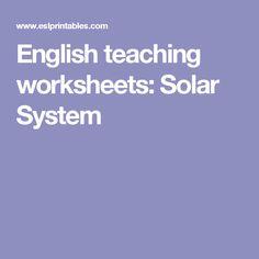 English teaching worksheets: Solar System