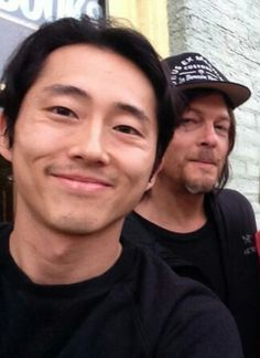 Steven Yeun & Reedus in Georgia 5/1/14. Yippee! Season 5 starts shooting!