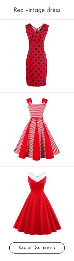 """Red vintage dress"" by rosegal-official ❤ liked on Polyvore featuring dresses, red sheath dress, v neckline dress, sheath dresses, red v neck dress, v-neck dresses, red dress, red stripe dress, red fit and flare dress and red striped dress"