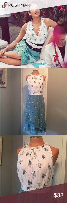 Eva Mendes umbrella dress This dress is so great! Love this dress so much! Labeled a size Eva Mendes 4 but runs big. Made from polyester, back Zipper and fully lined. Can fit a size 6 better. Excellent Condition no flaws bust bust 19' waist 14.5' length 45' Eva Mendes Dresses Midi