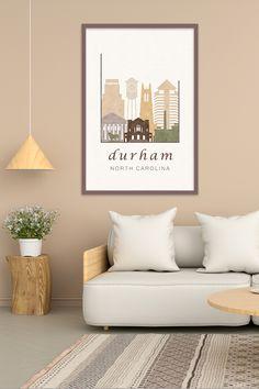 Durham NC, art skyline, wall art travel poster City Skyline Art, City Skylines, City Art, Cities In North Carolina, Desert Colors, Rustic Colors, Home Decor Wall Art, Durham, Decorating Your Home