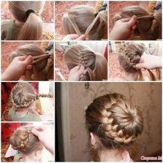 Weave braids around the tail, it looks like a braid bun .This hairstyle is great for ballet, dance recitals, figure skating, ballerinas and competitions, both- formal and casual occasions. It's very elegant.