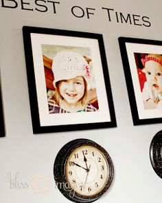 """Photos of your children each with a clock below """"stopped"""" at the exact time they were born.  LOVE."""