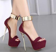 Womens Sexy Ankle Strap Open Toe High Heels Sandals Nightclub Platform Stilettos #hothighheelsmistress
