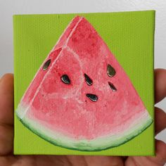 Watermelon Painting Miniature Painting Lime Green by Mae2Designs