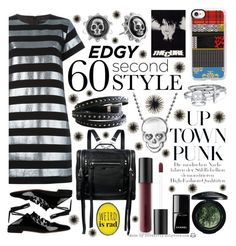"""""""Edgy 60-Second Style: The T-Shirt Dress"""" by curekitty ❤ liked on Polyvore featuring Marc by Marc Jacobs, Givenchy, King Baby Studio, Alex Woo, Bare Escentuals, MAC Cosmetics, McQ by Alexander McQueen, Bling Jewelry, Casetify and Chanel"""