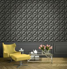 """Add a dark dramatic look to your home with """"Flower Panel"""" 3d Collection from Wallquest"""