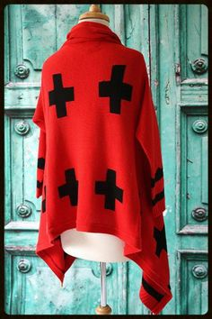Roja Red and Black Triangle Four Corners Knit Jacket from Cowgirl Kim