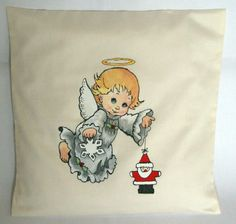 Angel Handpainted Cushion. Handmade Christmas by FennekArtDesign