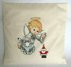 Angel Handpainted Cushion. Handmade Christmas by FennekArtDesign