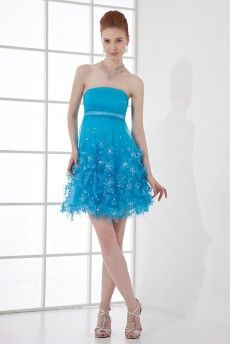 Net Strapless Short Dress with Embroidery