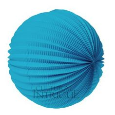 Turquoise Blue Accordion Paper Lantern.  12 inch diameter accordion lantern. Great decoration alone or for use with our lighting item LED10.