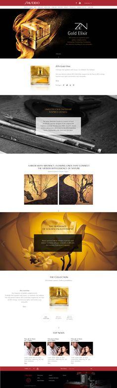 """Direction Artistique & Création d'un mini-site """"ZEN Gold Elixir"""" en Responsive Design avec Parallaxe pour la marque """"Shiseido"""". #WebDesign #Luxe #UX Design"""