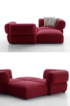 Sectional upholstered fabric garden #sofa BUTTERFLY by B&B Italia Outdoor | #design Patricia Urquiola #red @bebitalia
