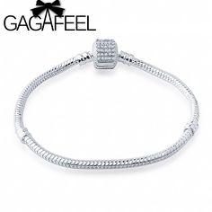 GAGAFEEL 16-20CM 3MM Snake Chain Full Crystal Clasp Bracelet for Female Charms Bracelets amp Bangles European DIY Jewelry Making