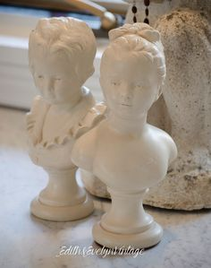 Vintage Pr French Busts Houdon Boy Girl Statue by edithandevelyn