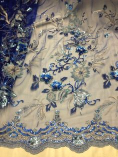 "ROYAL MESH W/GOLD EMBROIDERY SEQUINS LACE FABRIC 50"" WiDE 1 YARD #laceembroiderymesh"