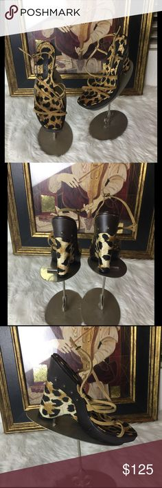 """Casadei Designer Wedge Sandals.  Sz 10 These Casadei designer sandals are gorgeous.  Sz 10.  Wedge 5"""". Platform 1"""". Love the animal print.  Never worn.  Retail 495 Casadei Shoes Wedges"""