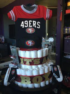 49ers diaper cake (football)