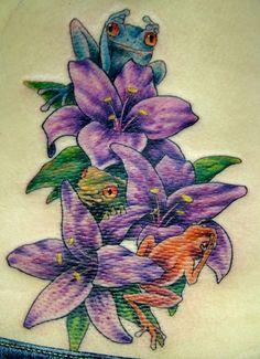 35 Best Frog And Flower Tattoos Images Floral Tattoos Flower Side