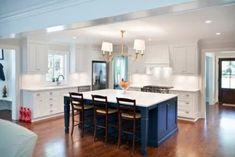 Navy Blue Kitchen Cabinets Design Ideas, Pictures, Remodel and Decor Navy Blue Kitchen Cabinets, Blue Kitchen Island, Kitchen Islands, White Cabinets, Island Blue, Kitchen Walls, Bathroom Cabinets, Kitchen Redo, Home Decor Kitchen