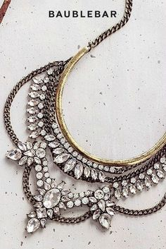 This combination of antique metal and crystals is making our hearts swoon. #necklace #jewelry