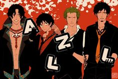 One Piece - Ace, Luffy, Zoro, and Law