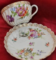 ANTIQUE DRESDEN PORCELAIN CUP AND SAUCER  FLORAL DESIGN