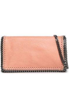 Falabella chain-trimmed faux brushed-leather shoulder bag  0ba2b29f0197b