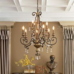Chandelier Makeover, Foyer Chandelier, Antique Chandelier, Chandelier Lighting, House Lighting, Quoizel Lighting, Chandelier Ideas, Vanity Lighting, French Country Chandelier