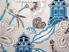 Emperor's Garden / Sapphire Drapery Upholstery Fabric by Braemore