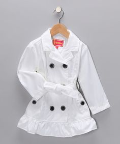 Take a look at this White Ruffle Trench Coat - Toddler  by Dollhouse & G Relations on #zulily today!