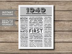 70th Birthday Poster, 70th Newspaper Poster, 70th Birthday Sign, 1949 Poster, 1949 Facts, Back in 1949, PRINTABLE - DIGITAL FILE