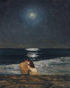 Arte Van Gogh, Wow Art, Impressionism Art, Love Painting, Moonlight Painting, Couple Painting, Painting Wallpaper, View Wallpaper, Ocean Wallpaper