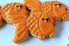 fish cookies~                                 By Baking in Heels on Facebook, Orange