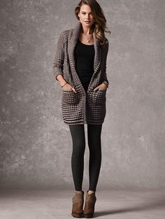 Shawl-collar Sweater Coat from VS.   Not an exact match to the Vince I posted but close!! I would totally rock this with leather pants and a white tee!