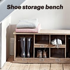 Shoe and welly storage bench from @CoxandCox Front Door Shoe Storage, Boot Storage, Bench With Shoe Storage, Wellies Boots, Under Stairs, Space Saving, Small Spaces, Doors, Interior